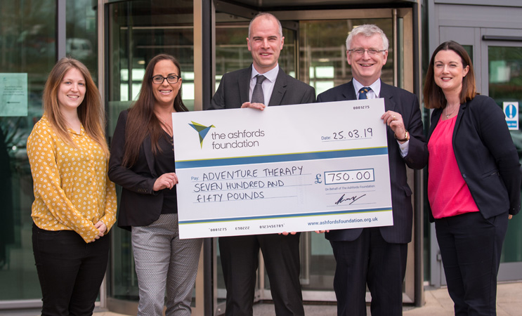 The Adventure Therapy charity - cheque presentation